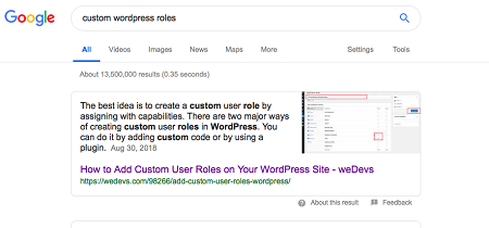 Structured data for featured snippets